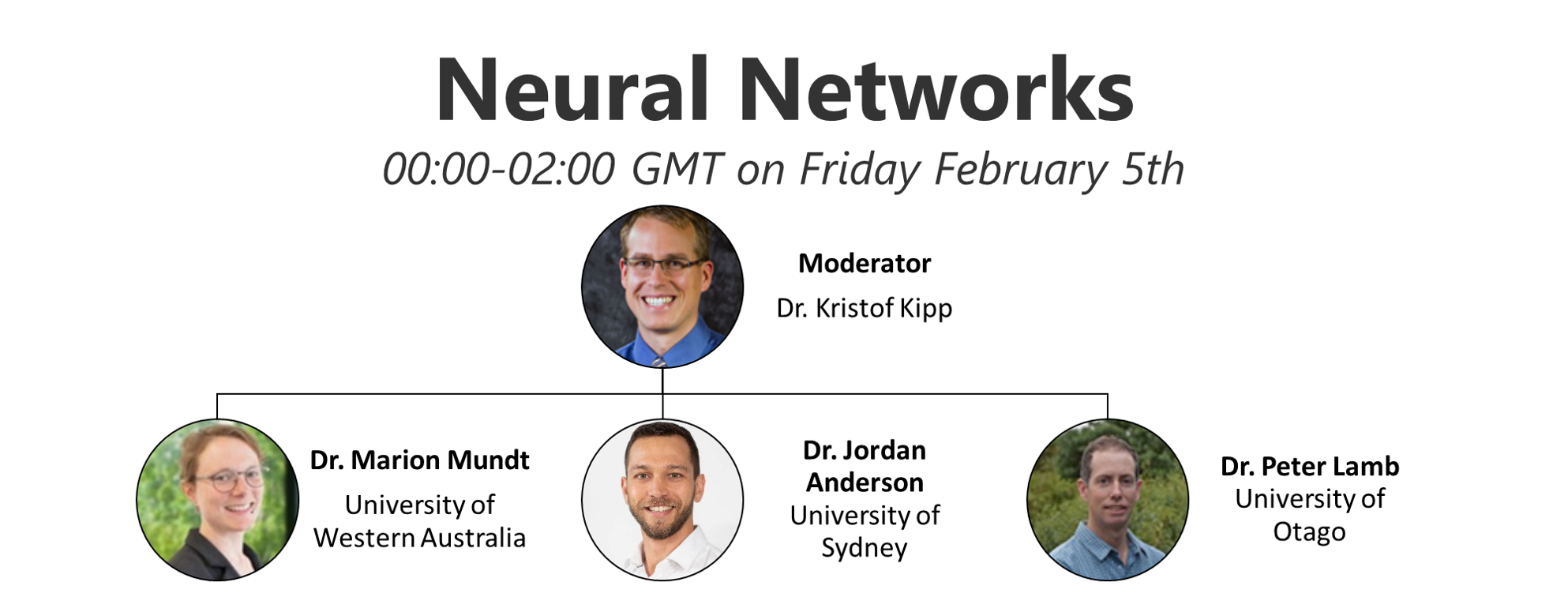 Neural Networks. 00:00-02:00 GMT on Thursday- Friday February 4-5th. Moderator: Dr. Kristof Kipp. Speakers: Dr. Marion Mundt University of Western Australia, Dr. Jordan Anderson University of Sydney, Dr. Peter Lamb University of Otago.