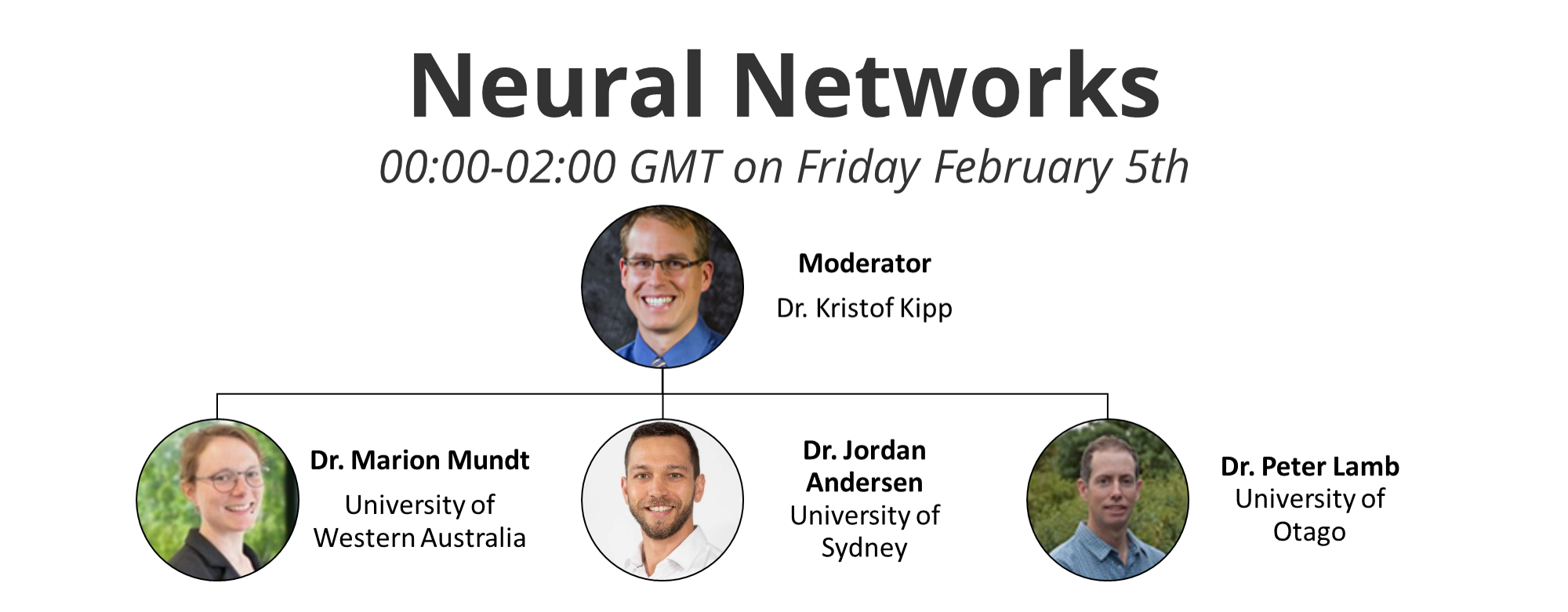 Neural Networks. 00:00-02:00 GMT on Thursday- Friday February 4-5th. Moderator: Dr. Kristof Kipp. Speakers: Dr. Marion Mundt University of Western Australia, Dr. Jordan Andersen University of Sydney, Dr. Peter Lamb University of Otago.