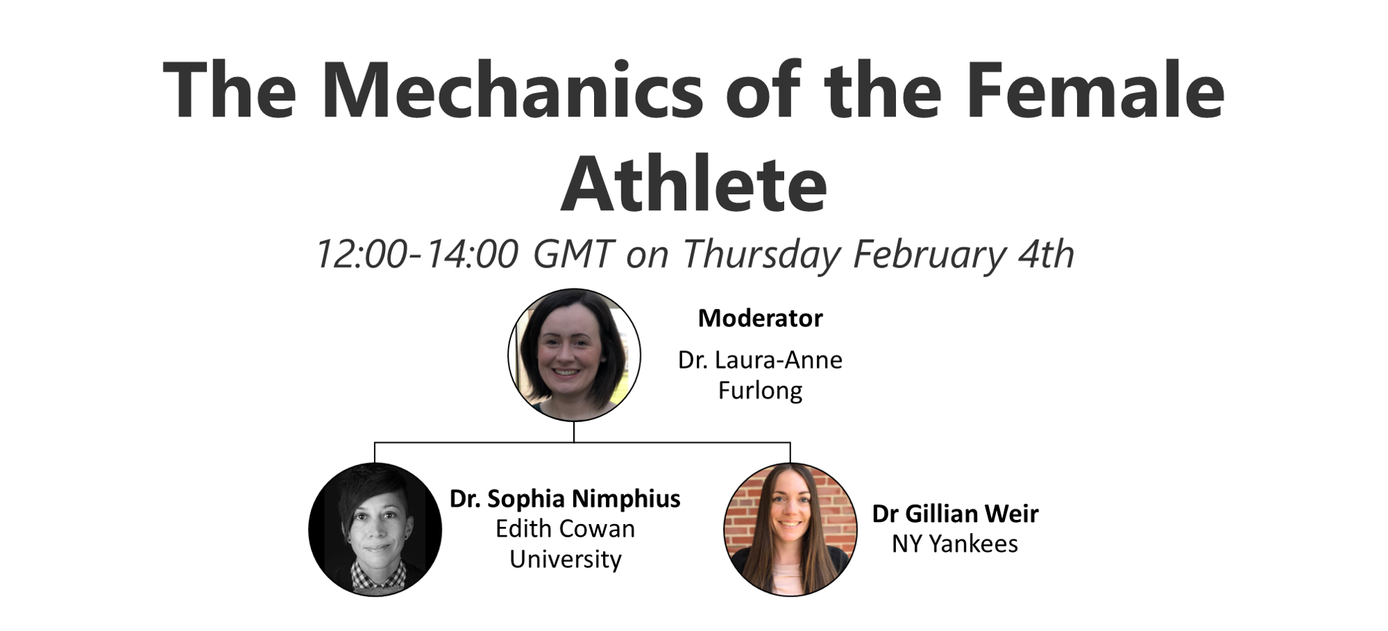 The Mechanics of the Female Athlete. 12:00-14:00 GMT on Thursday February 4th. Moderator: Dr Laura-Anne Furlong